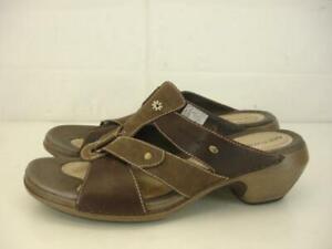 Womens-9-M-Merrell-Luxe-Slide-Coffee-Brown-Leather-Sandals-Slip-On-Open-Toe-Heel