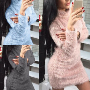 Women-039-s-Long-Sleeve-Loose-Winter-Warm-Sweater-Jumper-Pullover-Dress-Casual-Tops