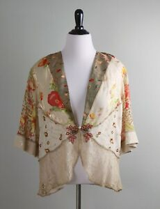 SPENCER ALEXIS Semi Sheer Floral Embroidered Lace Kimono Jacket Top Size XL
