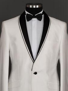 pretty nice 481e6 7ec62 Details zu Herren Anzug Sakko Hose Smoking Hochzeit Elfenbein Weiß Schwarz  Slim Fit 5tlg