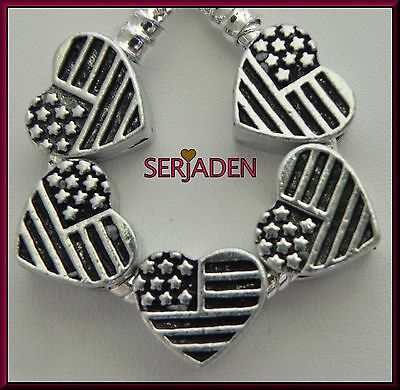 5 USA Flag Heart Spacer Charm Fits European Style Jewelry Hole 5 mm S201