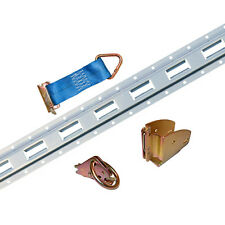 4x Galvanized Vertical E-Track with Wood Beam Sockets for Interior Trailers
