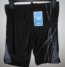 "Mens Black Sexy Swimwear Trunks Shorts ISWIM Medium Large Ins 8"" Spandex Cycling"