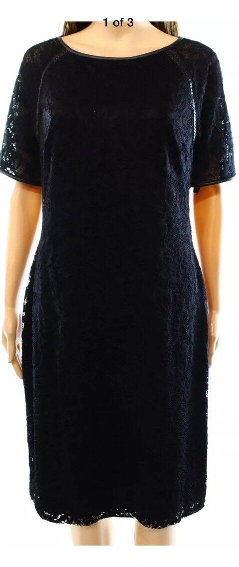 Lauren Ralph Lauren NEW schwarz Woherren Größe 14 Sheath Solid Lace Dress