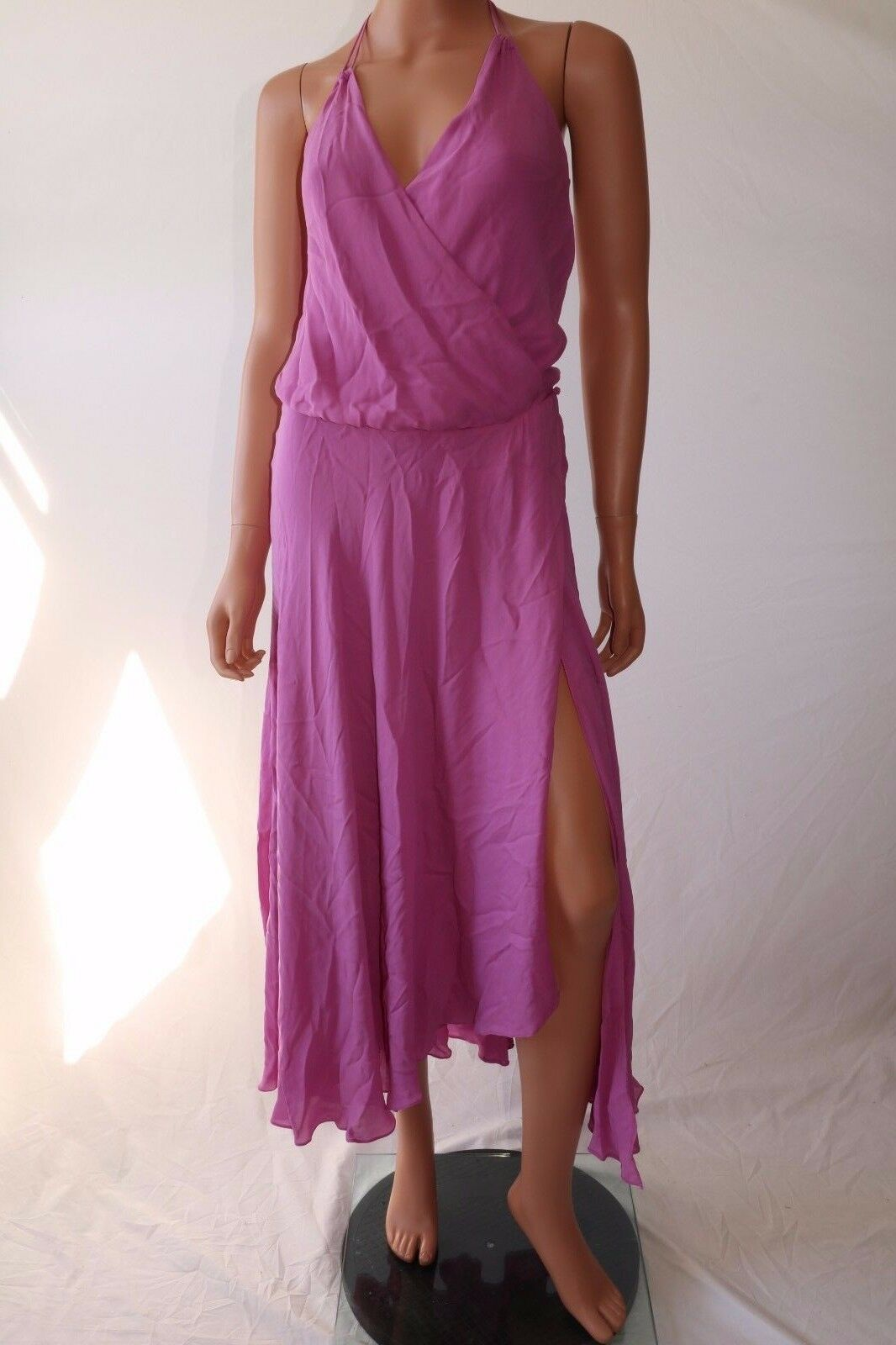 Haute Hippie Lilac Halter Draped Front Cross Silk Wrap Dress Without Belt