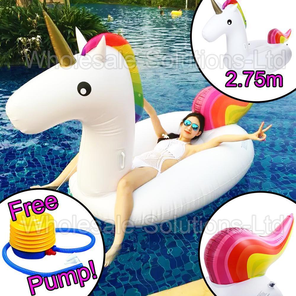 2.75m Géant Gonflable Unicorn Eau Flotteur Été Piscine Matelas Plage Amusant Amusant Plage 991d97