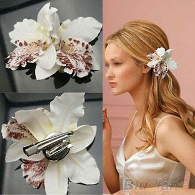 Fashion New Fabric Orchid Flower Leopard Print Hair Clip Brooch Wedding Bridal