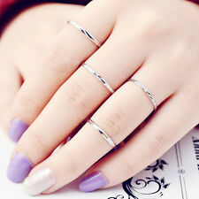 4pcs/Set Simple Round Alloy Silver Color Ring Shiny Ring Jewelry Decoration