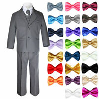 6pc Boys Kids Teen Formal Wedding Party Tuxedos Dark Gray Suits Bow Tie Set 8-20