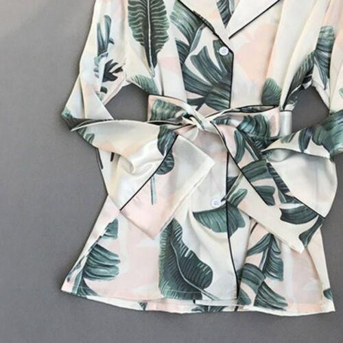 Details about  /Fashion Pajamas for Women Spring Fall Stitch Pijamas Set Silk Sleepwear Pajamas
