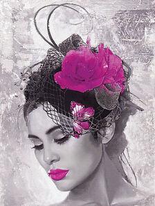Howard Page: Lady Butterfly 60x80 Keilrahmen-Bild fertig aufgezogen Mädchen Frau