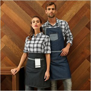 Contrast Denim Pocket Apron Cafe Restaurant Chefs Butcher Kitchen Cooking Baking