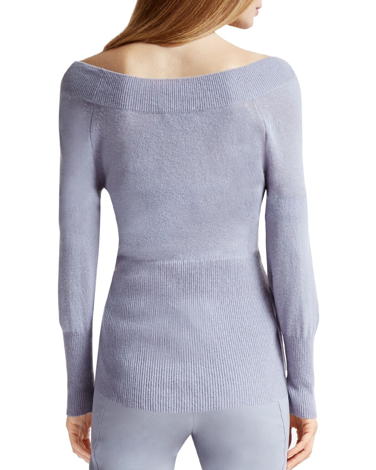 HALSTON HALSTON HALSTON HERITAGE Off-the-Shoulder Cashmere Sweater Small bluee NWT MSRP  395 50e381