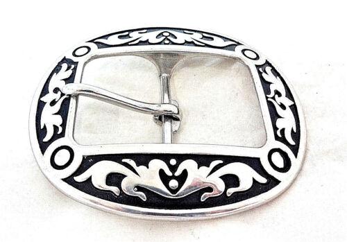 """Jeremiah Watt Oval Belt Buckle 1 1//2/"""" Western Stainless Steel Floral Black Horse"""