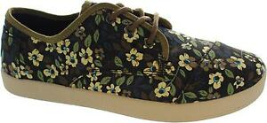 Toms-Paseo-Women-039-s-Black-Canvas-Printed-Plimsole-Style-Canvas-Trainers-New