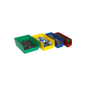 """Plastic Shelf Bins Boxes, 23 5/8""""x6 5/8""""x4"""", Red, 8/Case"""