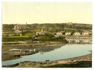 Castle and church Cornwall LARGE OLD PHOTOGRAPH//PHOTO Bude England  SUPERB