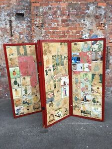 EARLY-20TH-CENTURY-VINTAGE-FOLDING-FOUR-WAY-SCREEN-SCRAP-WORK-ROOM-DIVIDER