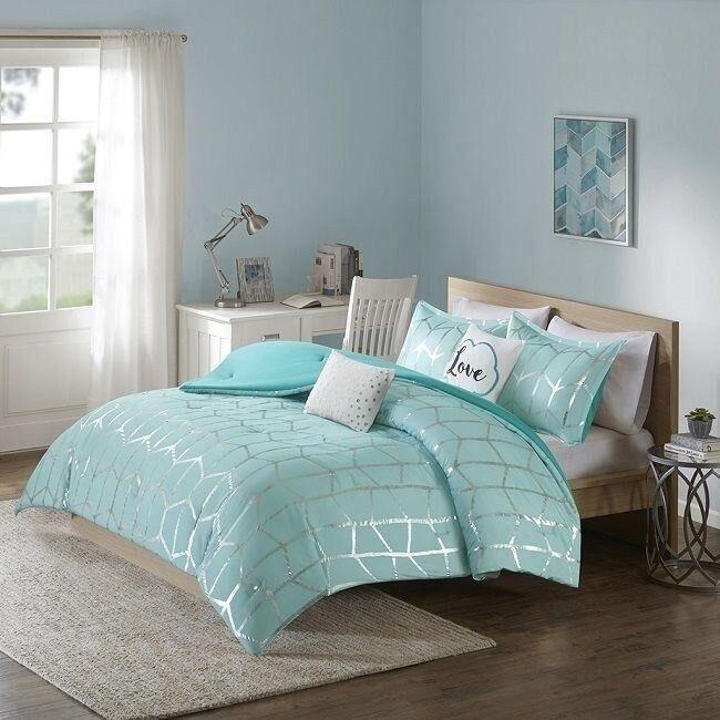 Unique Comforter Set Teen Girls Bedding Sets Glam Shimmer Teenagers FULL QUEEN