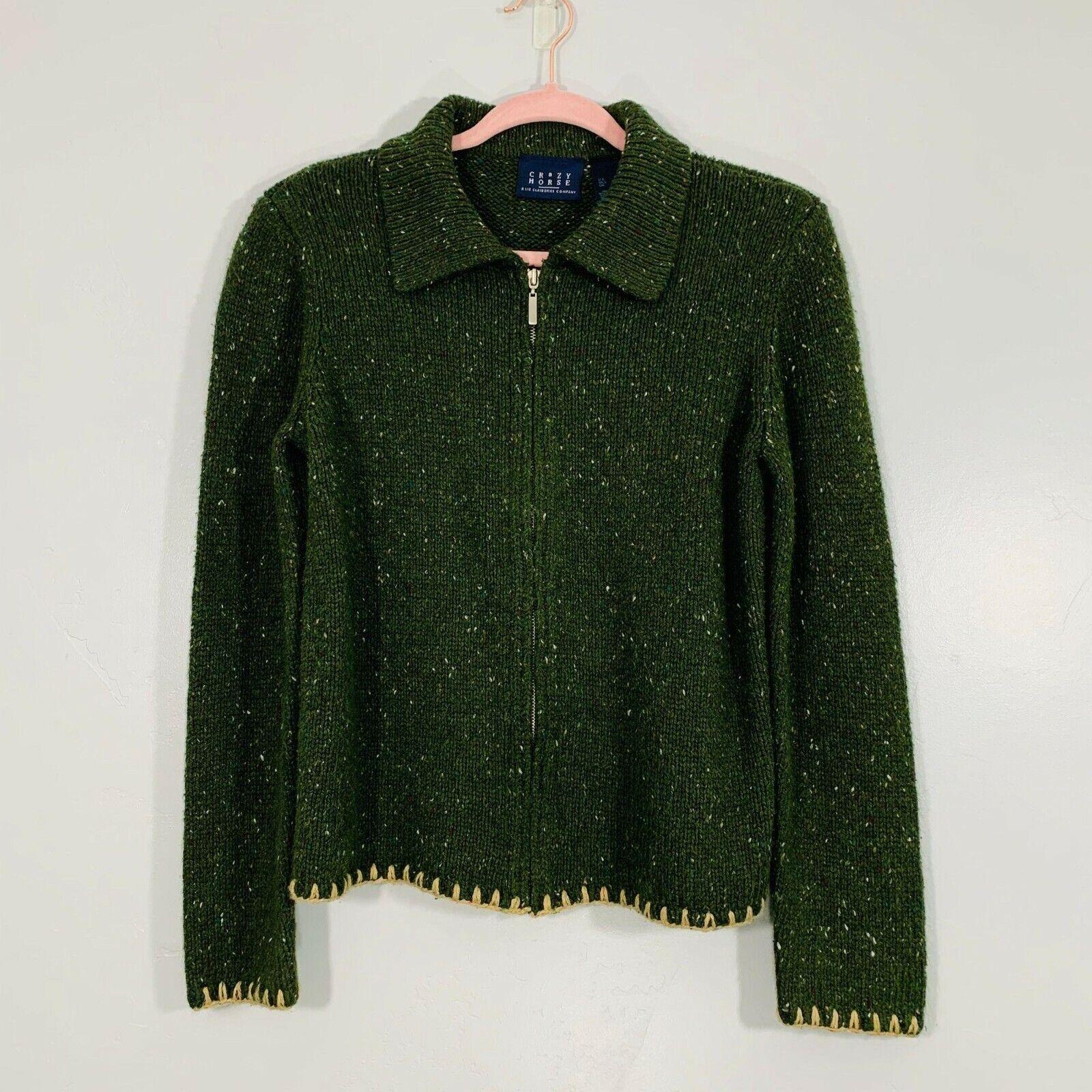 Vintage 90's Crazy Horse Green Spickled Knit Long Sleeve Zip Up Sweater Jacket