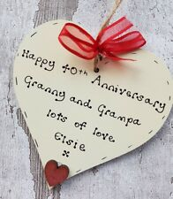 personalised 40th ruby wedding anniversary gift for Grandparents wooden heart