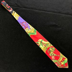 GIANNI-VERSACE-red-amp-purple-silk-tie-with-iconic-Le-Roi-Soleil-print-from-1992