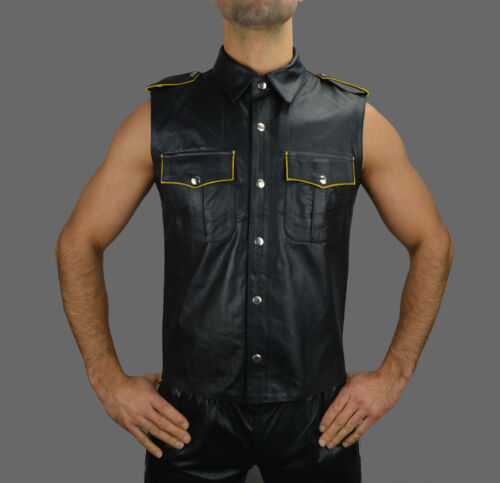 New Very Hot Genuine Black Sheep LEATHER Sleeveless Shirt BLUF Gay in All Sizes