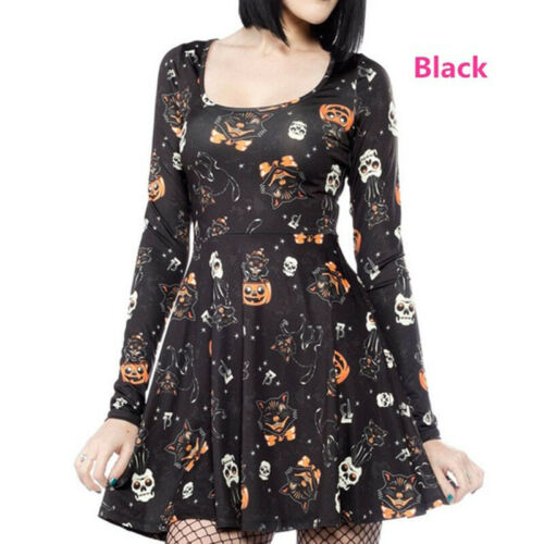 Vintage Womens Long Sleeve Pumpkin Skull Cat Print Mini Dress Halloween Costumes