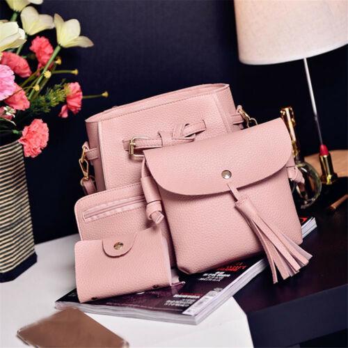UK 4PCS Women Ladies Leather Handbag Shoulder Tote Purse Satchel Messenger Bag