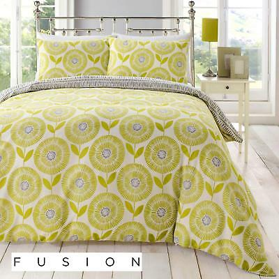 Fusion Ada Scandinavian Floral Easy Care Duvet Cover Bedding Set Green