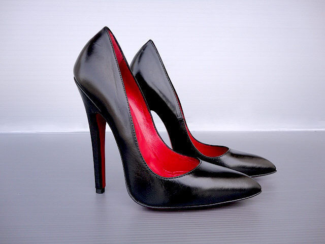 CQ COUTURE EXTREME HIGHEST NEW HEELS PUMPS SCHUHE COURT SHOES LEATHER BLACK 42