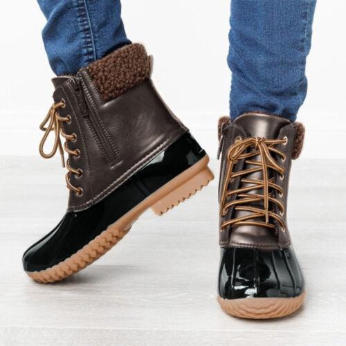 US Women Vintage Duck Mid-Calf Boots Ladies Winter Fur Lined Zipper Biker Shoes