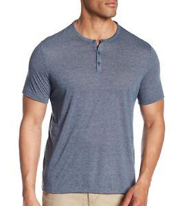 John-Varvatos-Star-USA-Men-039-s-Short-Sleeve-3-Button-Henley-Crew-Shirt-Capri-Blue