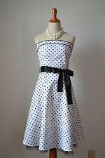 1950s 50s Costume Rockabilly Vintage Swing Dress Polka Dots Black White Small