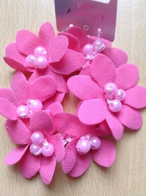 A Pretty Baby Pink Flower And Bead Scrunchie//Ponytail Band//Hair Bobble