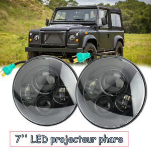 Pour-Land-Rover-Defender-Paire-7-034-H4-LED-projecteur-phare-90-110-TD4-TD5-Noir