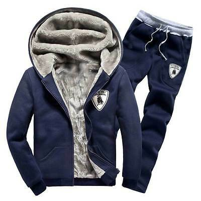 New Mens Winter Warm Velvet Hooded Jacket Hoodie Sweatshirts Pant Sports Clothes