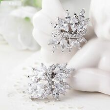Beautiful Stud Diamante Rhinestones Crystal Wedding Silver Earrings