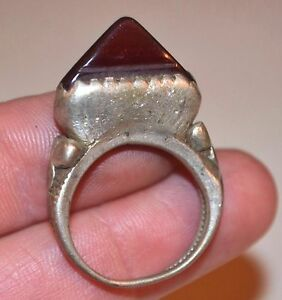 Antique Tuareg Ethnic Coin Silver Tribal Ring W Stone Niger Africa - Ring Size 8