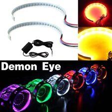 2x Rgb Bluetooth Led Demon Eye Halo Ring Headlight Projector Retrofit Led Light Fits Mustang