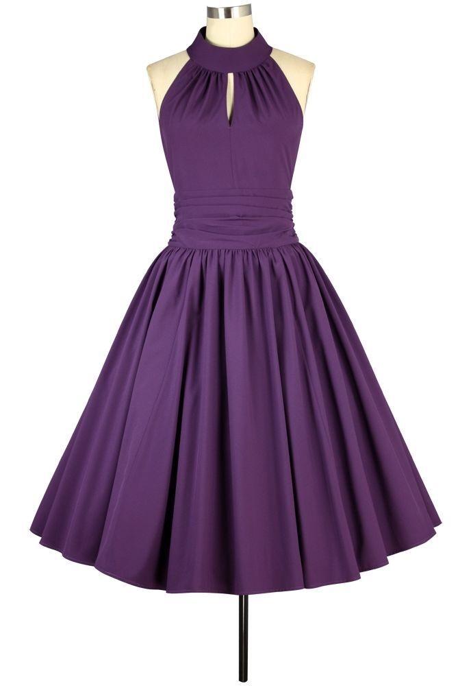 ANT 78100 Damen Kleid Rockabilly 50er 60er Retro Tanz Neckholder lila 50 56