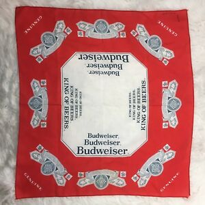 Budweiser-Vintage-Old-School-Red-Gray-Scarf-Bandana-Hanky-21-034-x-23-034
