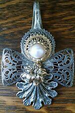Antique Silver Spoon Jewelry Vintage Tramp Art Necklace Slider Pendant Brooch