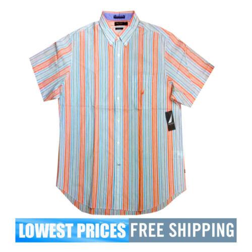 Nautica Men/'s NWT White W02252 Cotton SS Bright Wht Button Down Polo Shirt LARGE