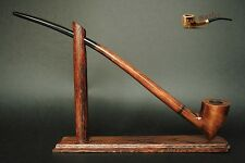 "WOODEN  SMOKING PIPE + STAND Gandalf Hobbit Lotr 83  CHURCHWARDEN LONG 14"" Brown"