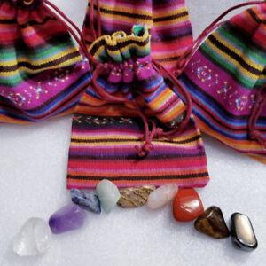 7-Chakra-Set-Tumbled-Stone-Tapestry-Bag-Chart-FREE-Gemstones-Wicca-Reiki-9pc