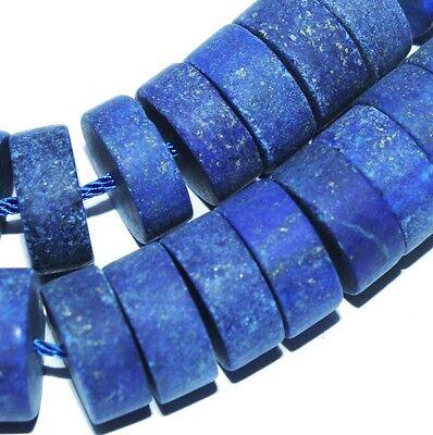 12mm Lapis Lazuli Heishi Roundel Matt Gemstone Beads 15pc