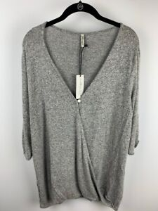 Mother-Bee-Maternity-Womens-Sweater-Gray-Marled-Stretch-Knit-V-Neck-Plus-2XL-New