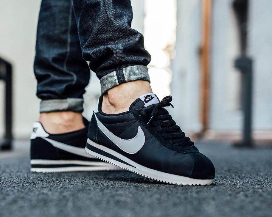BNWB & Auténticas Nike ® Classic Cortez Nylon tamaño Negro Y Blanco Zapatillas tamaño Nylon 9 b4fd9c
