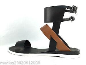 ZARA nero marrone con spalline Cinturino alla Caviglia sandali bassi UK4 EU 37